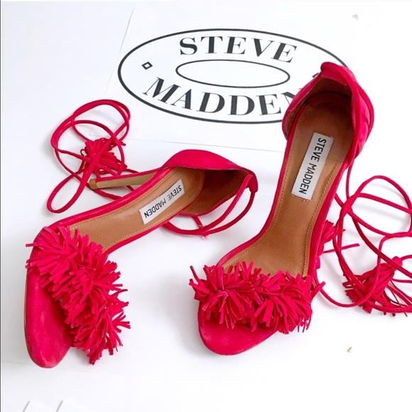 d1799ceb23cad Steve Madden Shoes   Sassey Red Fringe Heels   Poshmark